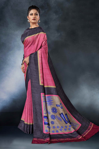 Pink Color Tussar Silk Saree - D.NO-1554