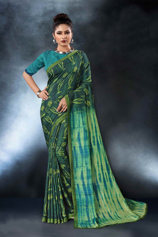 Rama Green Color Tussar Silk Saree - D.NO-1555