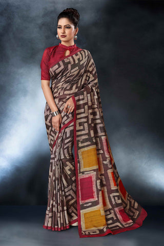 Multi Color Tussar Silk Saree - D.NO-1557