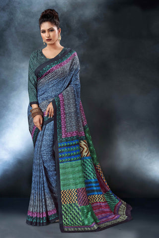 Multi Color Tussar Silk Saree - D.NO-1558