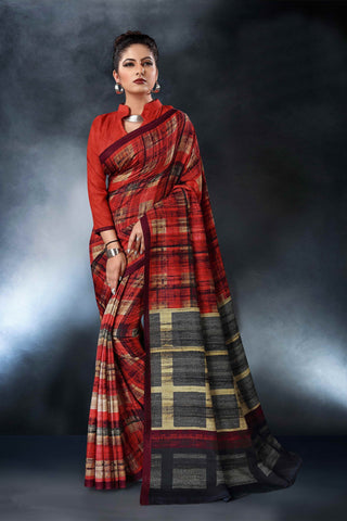 Multi Color Tussar Silk Saree - D.NO-1559