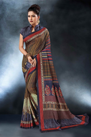 Multi Color Tussar Silk Saree - D.NO-1560