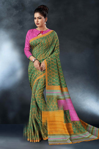 Green Color Tussar Silk Saree - D.NO-1561