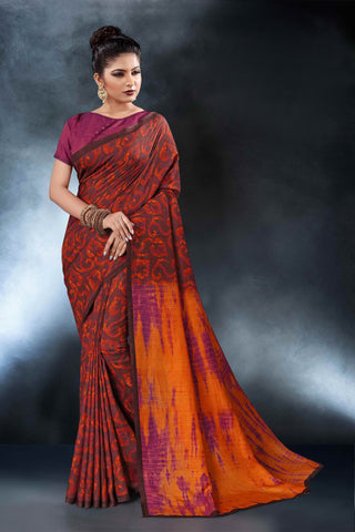Maroon Color Tussar Silk Saree - D.NO-1562