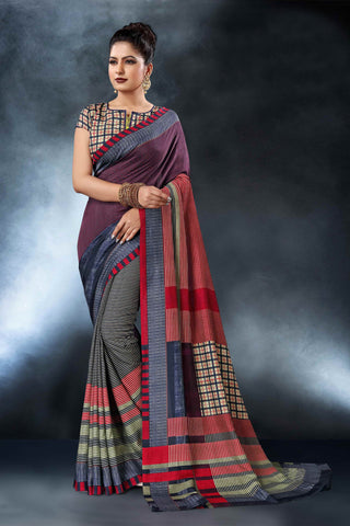 Multi Color Tussar Silk Saree - D.NO-1563