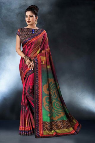 Multi Color Tussar Silk Saree - D.NO-1564