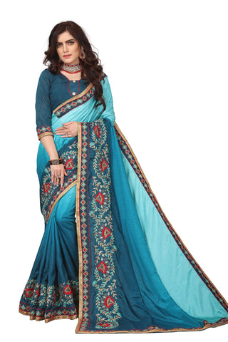 Aquamarine Color Dola Silk Embroidery Saree - D.NO-1734
