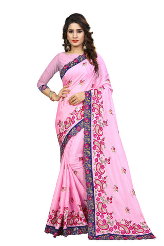 Baby Pink Color Chinon Embroidered Work Saree  - D.NO-2001