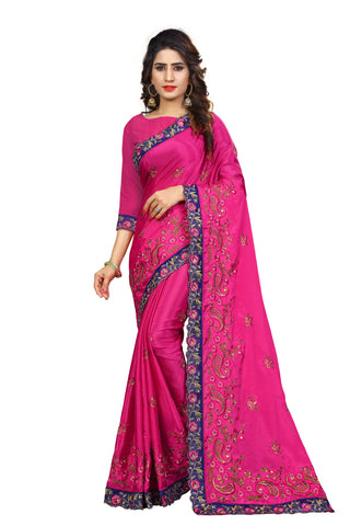 Pink Color Chinon Embroidered Work Saree  - D.NO-2004