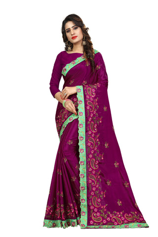 Violet Color Chinon Embroidered Work Saree  - D.NO-2007