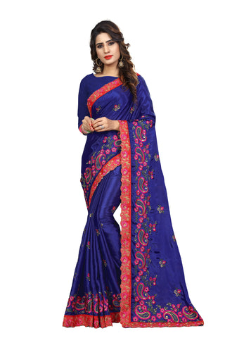 Blue Color Chinon Embroidered Work Saree  - D.NO-2009
