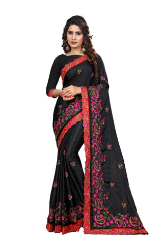 Black Color Chinon Embroidered Work Saree  - D.NO-2010