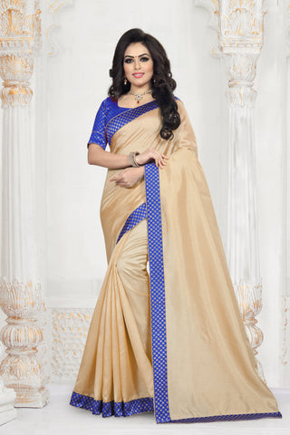 Beige Color Zoya Art Silk Women's Plain Saree - D.NO-2203