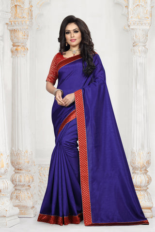 Navy Blue Color Zoya Art Silk Women's Plain Saree - D.NO-2209