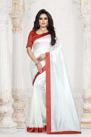 Off White Color Zoya Art Silk Women's Plain Saree - D.NO-2212