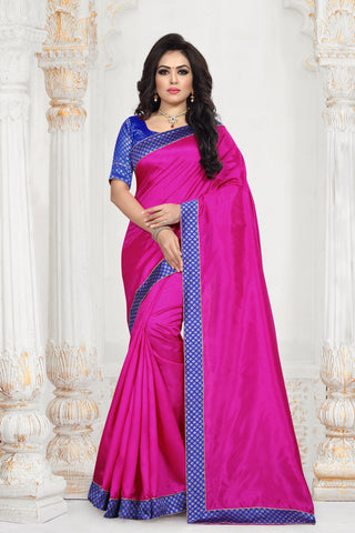 Magenta Color Zoya Art Silk Women's Plain Saree - D.NO-2213