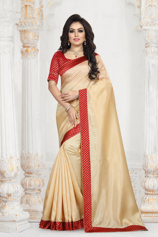 Beige Color Zoya Art Silk Women's Plain Saree - D.NO-2214