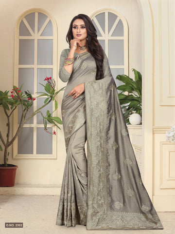 Grey Color Vichitra Silk Saree - D.NO-2302