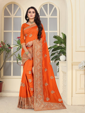Orange Color Vichitra Silk Saree - D.NO-2304