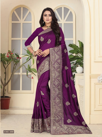 Purple Color Vichitra Silk Saree - D.NO-2308