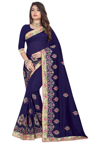 Navy Color Vichitra 2 Tone Women's Saree - D.NO-2501
