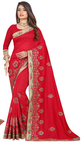 Red Color Vichitra 2 Tone Women's Saree - D.NO-2502