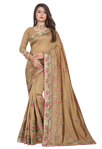 Cream Color Vichitra 2 Tone Women's Saree - D.NO-2503