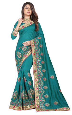 Teal Color Vichitra 2 Tone Women's Saree - D.NO-2504