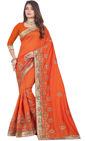 Orange Color Vichitra 2 Tone Women's Saree - D.NO-2505