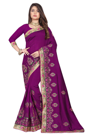 Magenta Color Vichitra 2 Tone Women's Saree - D.NO-2506