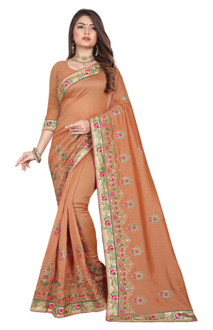 Peach Color Vichitra 2 Tone Women's Saree - D.NO-2507
