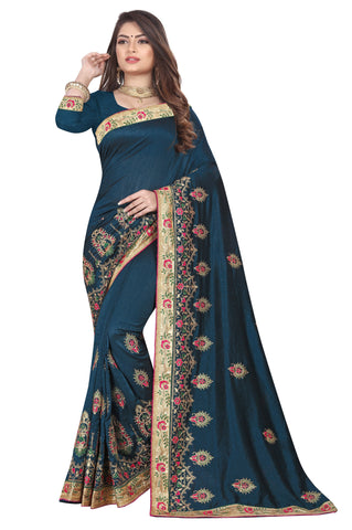 Teal Color Vichitra 2 Tone Women's Saree - D.NO-2508
