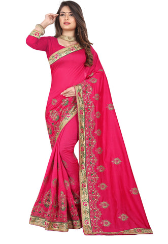 Red Color Vichitra 2 Tone Women's Saree - D.NO-2509