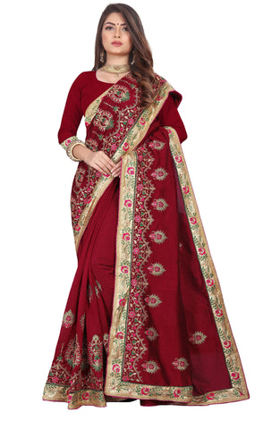 Maroon Color Vichitra 2 Tone Women's Saree - D.NO-2510