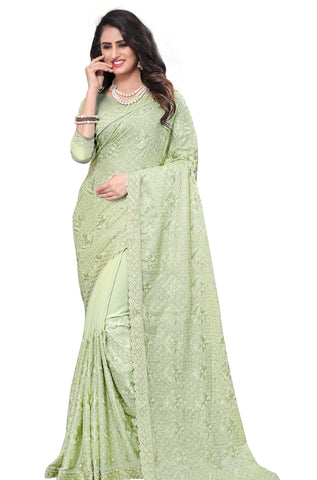 Sea Green Color Georgette Rangoli Women's Saree - D.NO-2511