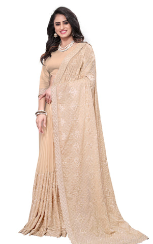 Peach Color Georgette Rangoli Women's Saree - D.NO-2512