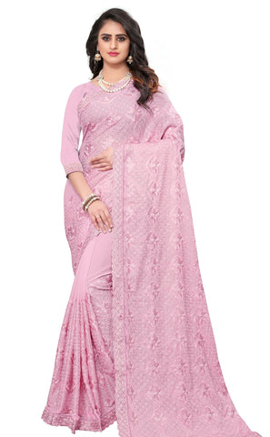 Pink Color Georgette Rangoli Women's Saree - D.NO-2513