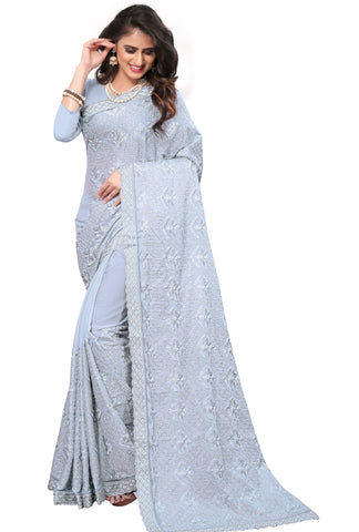 Grey Color Georgette Rangoli Women's Saree - D.NO-2514