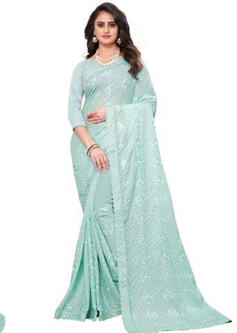 Turquoise Color Georgette Rangoli Women's Saree - D.NO-2516
