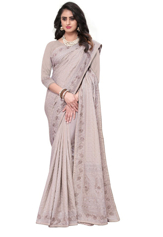 Cream Color Georgette Rangoli Women's Saree - D.NO-2517