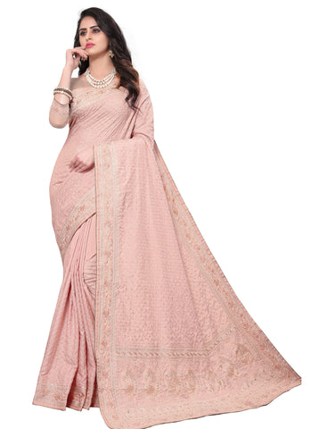Peach Color Georgette Rangoli Women's Saree - D.NO-2518