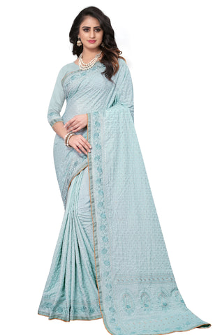 Blue Color Georgette Rangoli Women's Saree - D.NO-2521