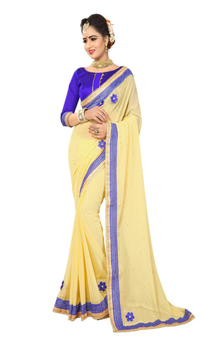 Light Yellow Color Marba Chifon Saree - D.NO.-1742
