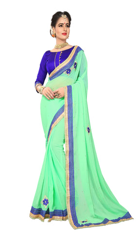 Light Pista Color Marba Chifon Saree - D.NO.-1743