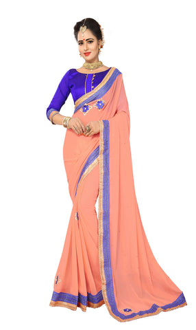Light Pech Color Marba Chifon Saree - D.NO.-1744