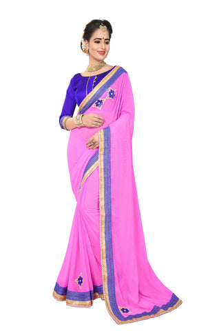 Light Pink Color Marba Chifon Saree - D.NO.-1745