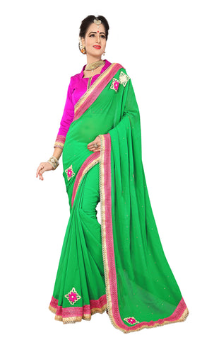 Green Color Marba Chifon Saree - D.NO.-1749