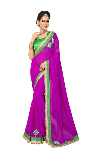 Wine Color Marba Chifon Saree - D.NO.-1750