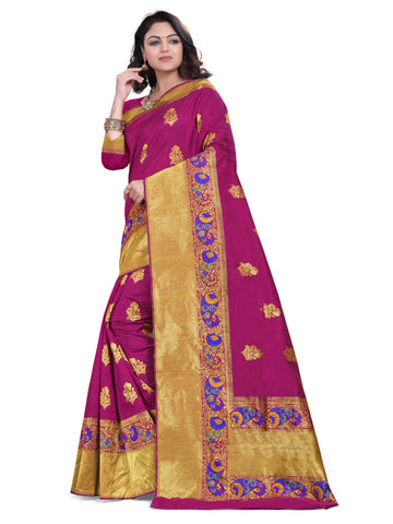Magenta Color Banarasi Silk Women's Saree - D.NO.-1774