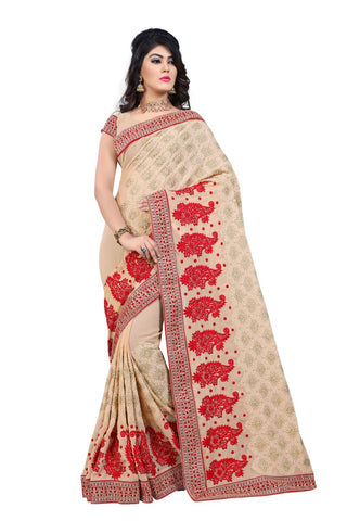 Beige Color Georgette Saree  - D.NO.-189